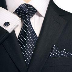 "3PC Silk Necktie Set Color: Blue and White 59"" Length, 3.25"" Width"