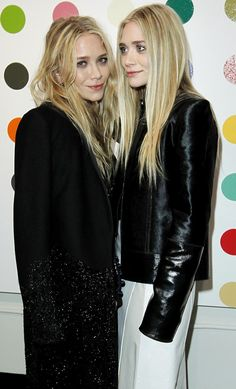OLSENS ANONYMOUS MKA MARY KATE ASHLEY OLSEN THE ROW DAMIEN HIRST PRESENTATION LA HOLLYWOOD LOS ANGELES PARTY JUST ONE EYE NILE CROC BACKPACKS HAND PAINTED LEATHER SATIN JACKET WHITE DRESS SKIRT LONG BLACK COAT SEQUIN BEADING LONG BLONDE HAIR