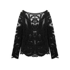 SheIn(sheinside) Black Long Sleeve Hollow Crochet Lace Blouse (€14) ❤ liked on Polyvore featuring tops, blouses, sheinside, shirts, lace, black, floral long sleeve shirt, long sleeve blouse, see through blouse and long sleeve lace shirt