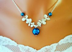 PEACOCK ORCHIDS NECKLACE Royal Blue Pearls White Wedding Jewelry $45.99