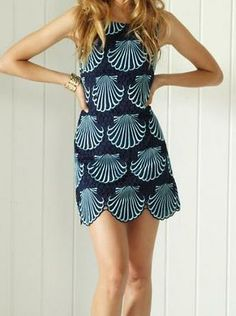 Lilly Pulitzer Delia Scalloped Hem Shift Dress in True Navy