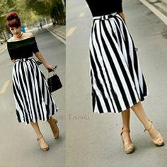 Maggie Tang Lady Long Elegant Maxi Skirt Striped Checks Bow High Waist VS801   eBay