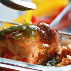 Spicy Chicken with Rice and Beans + a yummy cilantro sauce = healthy meal prep to last you all week! Love this recipe. #mealprep #chicken #healthy #cleaneating #makeahead | pinchofyum.com