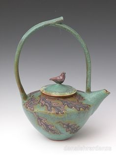 Bronze Green Stoneware Teapot with High Handle and Bird on Lid by Dana Lehrer Danze