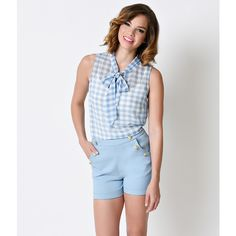 1950s Style Sky Blue & White Gingham Gauze Sheer Tie Blouse ($38) ❤ liked on Polyvore featuring tops, blouses, light blue, tie blouse, sheer sleeveless blouse, light blue blouse, pleated top and light blue top