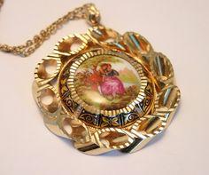 Vintage Fragonard porcelain pendant by chicvintageboutique on Etsy, $25.00