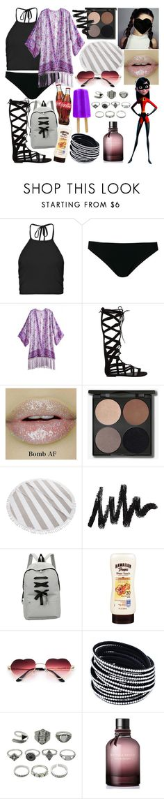 """Beach Party - Violet Parr"" by dappershadow ❤ liked on Polyvore featuring Boohoo, Rick Owens, Steve Madden, Kassatex and Bottega Veneta"