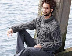 Схема и описание вязания на спицах мужского свитера с косами из журнала  «Verena. Специальный выпуск» №6/2013