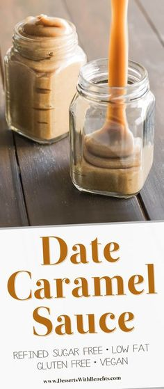 [How to make Date Caramel Sauce] This Healthy Date Caramel Sauce is silky smooth creamy rich and sweet you'd never know it's vegan and low fat with no sugar added! Healthy Dessert Recipes with sugar free low calorie low carb high protein gluten fr Healthy Vegan Dessert, Vegan Sweets, Healthy Desserts, Date Recipes Healthy, Date Sugar Recipes, Raw Desserts, Sugar Free Vegan Desserts, Desserts Caramel, Low Fat Desserts