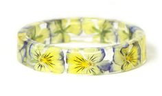 Real Flower Bracelet- Flower Jewelry- Blue Bracelet- Yellow Bracelet-Resin Bangle- Jewelry made with Real Flowers-Real Flowers on Etsy, Sold