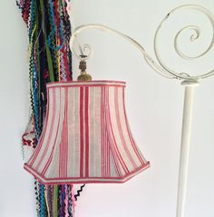 Vintage wire lamp shade frame for bell shape old victorian lampshade red uno stripe lamp shade lampshade in french ticking hex bell fabric shade standard uno greentooth Image collections