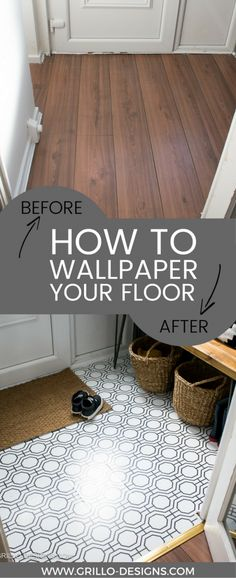 how to wallpaper a floor with contact paper in your rented home -everything you need to know! / grillo designs