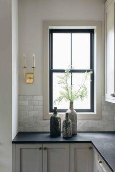 Dream Home Design, House Design, Western Springs, Black Countertops, Soapstone Countertops, Stools For Kitchen Island, Home And Deco, Design Inspiration, Design Ideas
