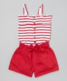 Red Stripe Romper - Infant, Toddler & Girls