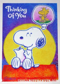 Peanuts General Greeting Cards | CollectPeanuts.com - Snoopy & Woodstock Thinking of You Greeting Card