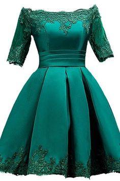 Off-shoulder Satin Applique Dress with Embroidery Details
