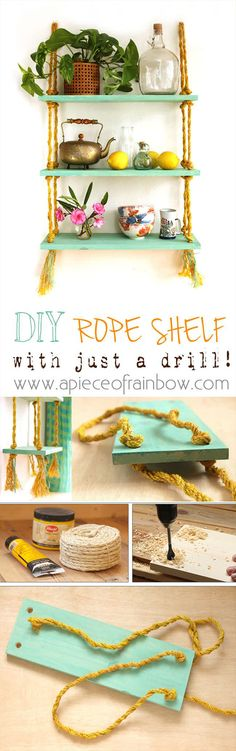 Check out the tutorial how to make an easy DIY hanging rope shelf @istandarddesign