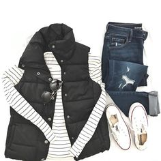 Converse, striped tee, dark jeans, puffy vest