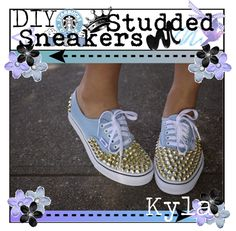 """DIY Studded Sneakers"" by teen-tippers ❤ liked on Polyvore"