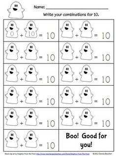 Ghostly Make Ten - Math Coach's Corner - TeachersPayTeachers.com