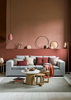 Living room furniture, Apricot wall color, gray sofa, small table and stool . - Decoration is My Job Room Paint Colors, Paint Colors For Living Room, Wall Colors, Living Room Furniture, Living Room Decor, Living Rooms, Deco Rose, Colorful Interiors, Interior Design