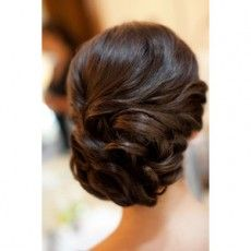 curled bun bridal updo hairstyle