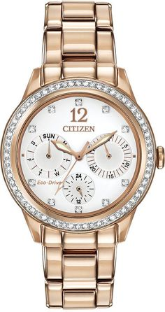 Citizen Women's Chronograph Eco-Drive Silhouette Crystal Rose Gold-Tone Stainless Steel Bracelet Watch 37mm FD2013-50A    gold, gold aesthetic, the color gold, gold things, everything gold, gold fashion (affiliate)