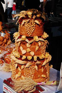 Ukrainian Korovai at a bread festival in Ivano-Frankivsk,