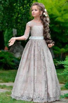 Must Haven 2018: 15 Lace Flower Girl Dresses ❤ lace flower girl dresses illusion sleeves long a line vintage rose by hannah aj ❤ Full gallery: https://weddingdressesguide.com/lace-flower-girl-dresses/