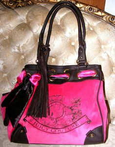 Juicy Couture Dark Pink & Brown Daydreamer Handbag, JC Velour Purse #JuicyCouture #TotesShoppers