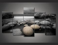 """5 Panel """"Beach Rock"""" Canvas Wall Art"""