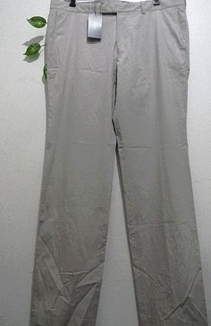 Hugo Boss AUTHENTIC Gray Beige Stripes Cotton Men Casual Pants Size US 38 NEW! #HUGOBOSS #CasualPants