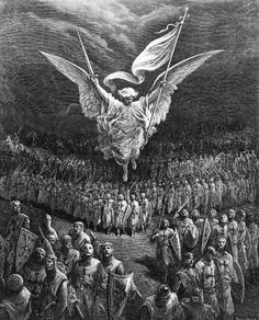 Gustave Dore Solid-Faced Canvas Print Wall Art Print entitled The Road to Jerusalem, from 'Bibliotheque des Croisades' Archangels, Gustave Dore, Archangel Michael, Guardian Angels, Art, Angel, Dark Art, Crusades, Woodcut