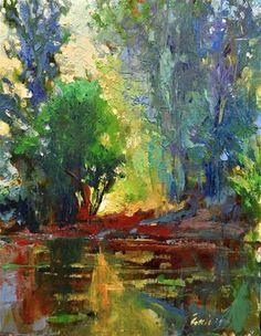 """Daily Paintworks - """"Quiet Pond """" - Original Fine Art for Sale - © Emiliya Lane"""