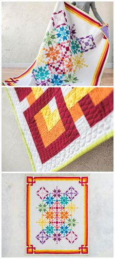 Carnivale White Quilt Kit by Craftsy. |Two traditional blocks make up this project, and the fabric placement helps to create a masterpiece. Modern solids quilt pattern. Star quilt pattern. Rainbow quilt. #modernquilt #rainbowquilt This is an aff
