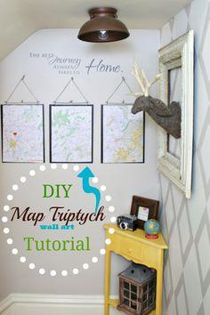 DIY map triptych tutorial, Pottery Barn knock off wall art at diyshowoff.com