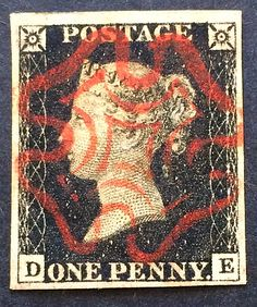 The classic 1840 penny black with red Maltese cross