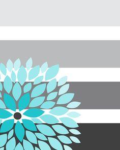 ON SALE Floral Bursts Big Stripes Art Prints by 7WondersDesign