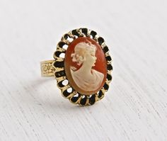 Vintage Cameo Ring - Retro Gold Tone Victorian Revival Adjustable Statement Costume Jewelry / Faux Carved Shell