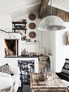 Black and white fire place