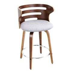 Cosini Walnut Wood Mid Century Modern 24-inch Swivel Bar Stool   Overstock.com Shopping - The Best Deals on Bar Stools