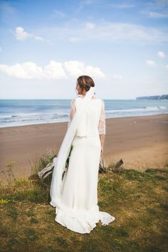 Bride Kate wore a Laure de Sagazan skirt and Elise Hameau top, both from The Mews Bridal of Notting Hill for her wedding in Filey North Yorkshire. Photography by http://photography34.co.uk.