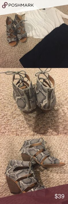 Corso Como Python print sandal Stylish Gillie tie sandal with python print. Love this with jeans and neutral top. Some light scuffing on heels. In very good condition. 8.5 M width. Corso Como Shoes Sandals