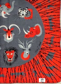 Tammis Keefe handkerchief. African trophy heads. Very non-p.c., I know, but this is about the design.