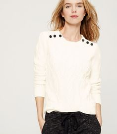 Shoulder Button Cable Sweater