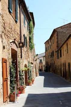 A scenic view of main street Montisi. Montisi, Tuscany, Italy, province of Siena