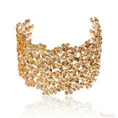Bracelete cascata de flores folheado em ouro 18k