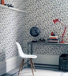 Hamman wallpaper from Fired Earth makes a strong statement in a home office