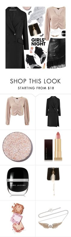 """""""Hey, Besties: Girls' Night"""" by beebeely-look ❤ liked on Polyvore featuring Topshop, Rochas, Glitter Injections, Kevyn Aucoin, Marc Jacobs, Lanvin, Lime Crime, Nam Cho, NightOut and Heels"""