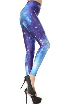 "ROMWE | ""Galaxy"" Blue Leggings, The Latest Street Fashion #Romwe"